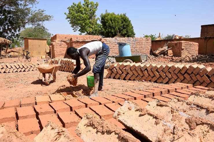 The basic building material in the Near East were adobe bricks.