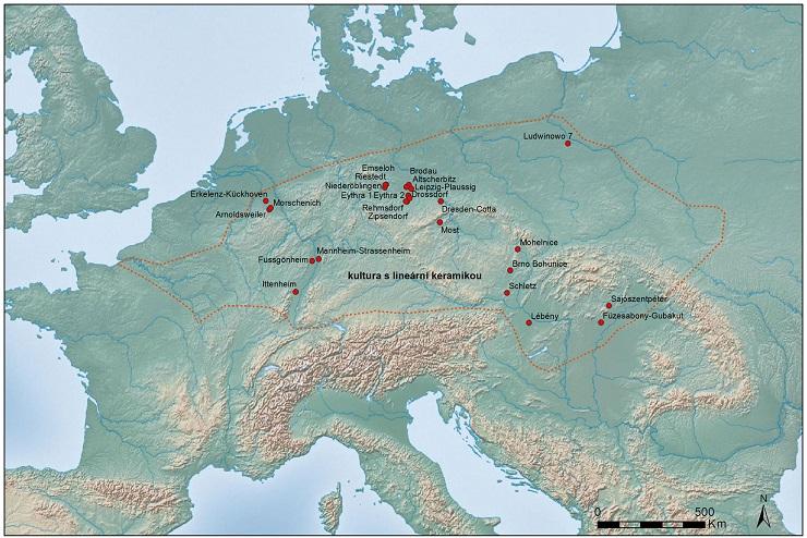 Neolitické studny v rámci rozšíření kultury s lineární keramikou. Upraveno podle Elburg 2011, Tegel et al. 2012.